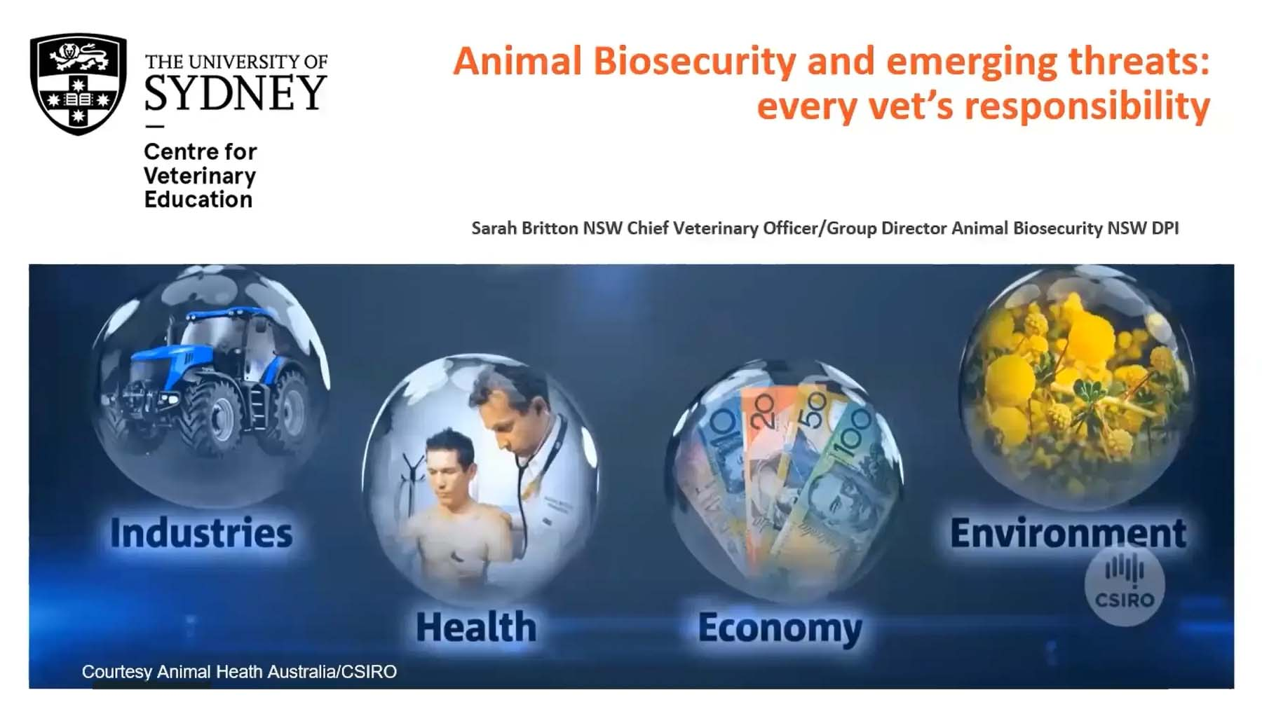 Animal Biosecurity and Emerging Threats: every vet's responsibility